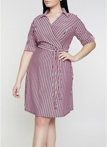 Plus Size Striped Faux Wrap Shirt Dress,PURPLE,large