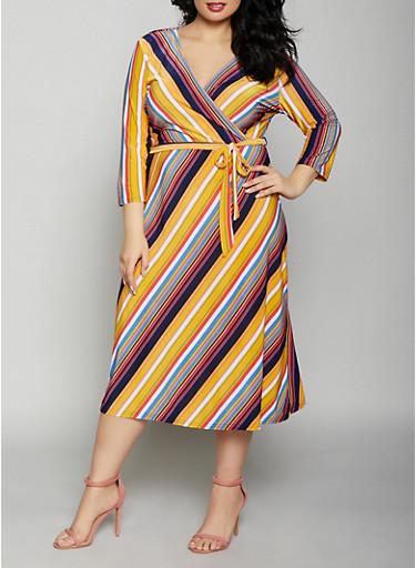 Plus Size Multi Color Striped Faux Wrap Dress,BLUE,large