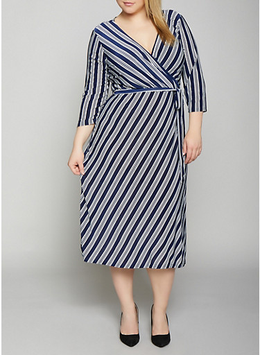 Plus Size Striped Belted Faux Wrap Dress,NAVY,large