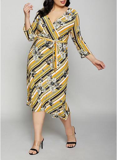 Plus Size Printed Faux Wrap Dress,MUSTARD,large