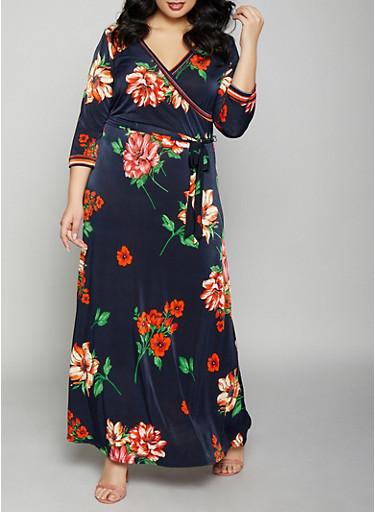 Plus Size Floral Faux Wrap Maxi Dress,NAVY,large