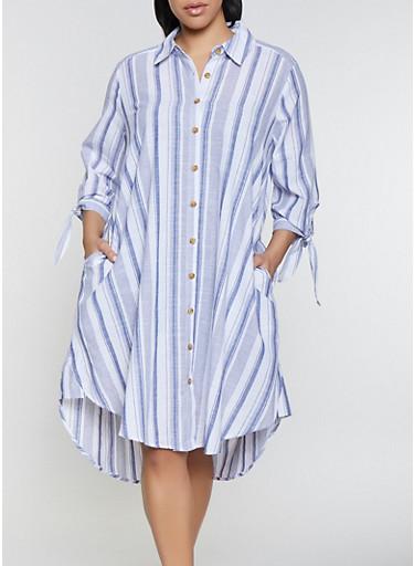 Plus Size Striped Tie Sleeve Shirt Dress,NAVY,large