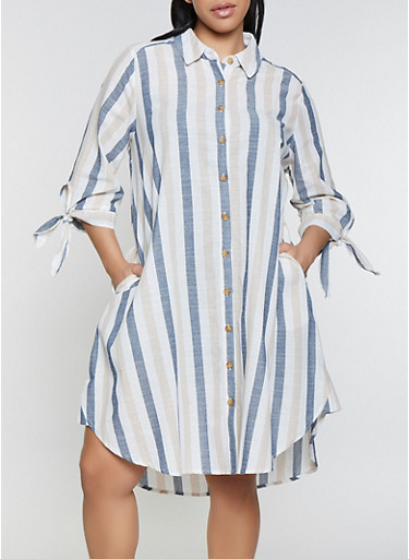 Plus Size Striped Shirt Dress with Pockets,NAVY,large