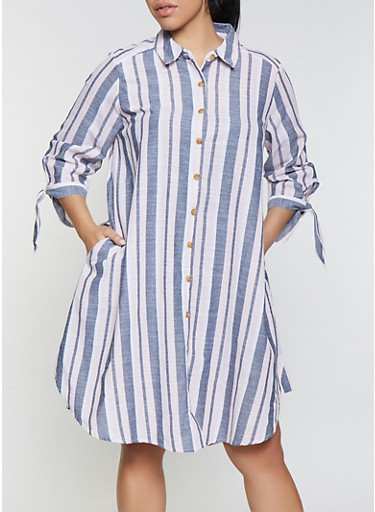 Plus Size Striped Tie Sleeve Shirt Dress,PINK,large