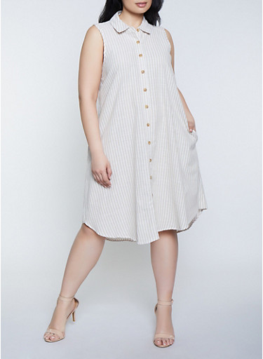 Plus Size Sleeveless Striped Linen Shirt Dress,TAN,large