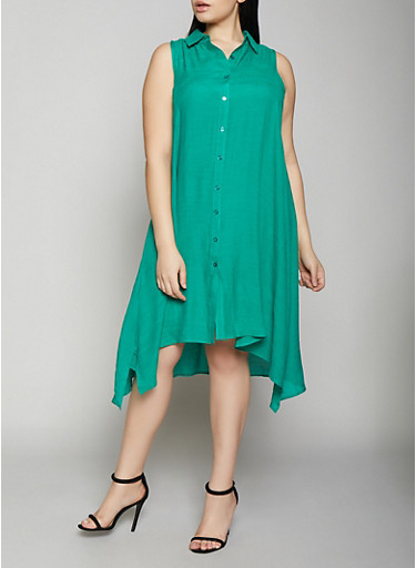 Plus Size Linen Shirt Dress,KELLY GREEN,large