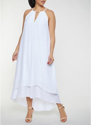 Plus Size Sleeveless Maxi Dress,WHITE,large
