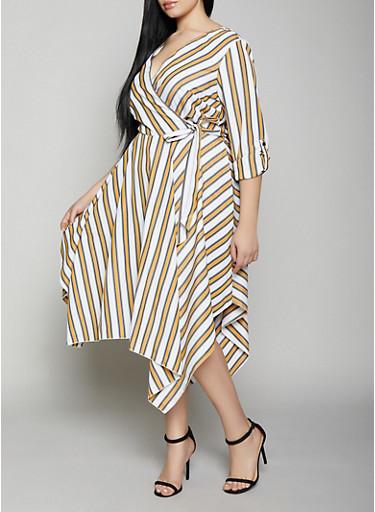 Plus Size Striped Asymmetrical Hem Faux Wrap Dress,MUSTARD,large