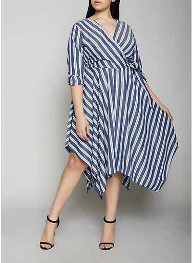 Plus Size Striped Faux Wrap Dress | Navy,NAVY,large