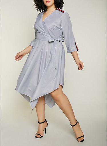 Plus Size Stripe Tape Faux Wrap Dress,BLACK,large