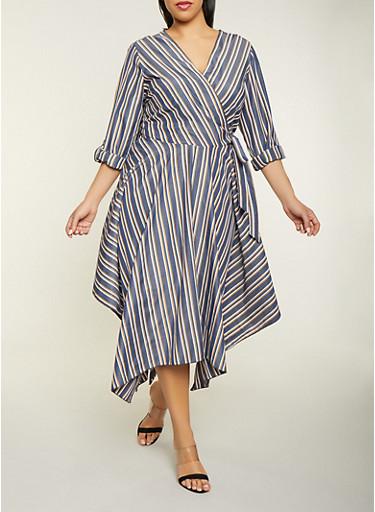 Plus Size Tie Waist Striped Faux Wrap Dress,NAVY,large