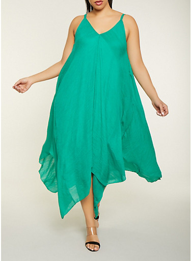 Plus Size Maxi Asymmetrical Dress,KELLY GREEN,large