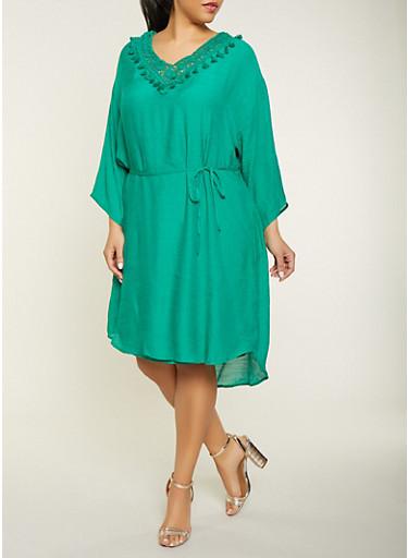 Plus Size Crochet Tassel Trim Dress,KELLY GREEN,large