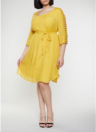 Plus Size Cut Out Sleeve Shift Dress,MUSTARD,large
