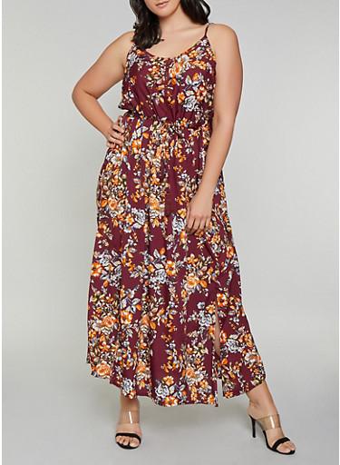Plus Size Crochet Insert Floral Maxi Dress,WINE,large