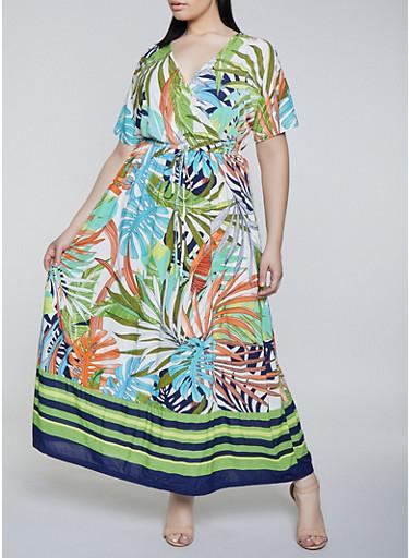 Plus Size Tropical Print Faux Wrap Dress | 1390056121704,BLUE,large