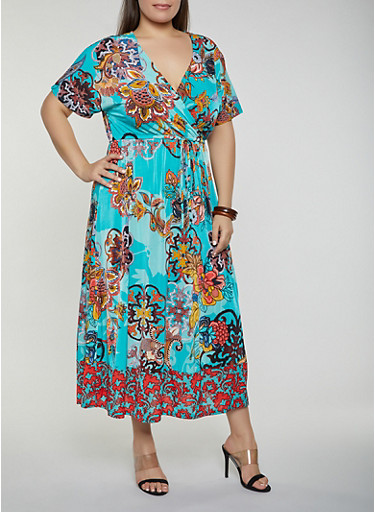 Plus Size Floral Faux Wrap Maxi Dress  | 1390056121705,TURQUOISE,large