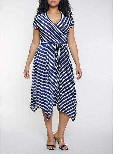 Plus Size Faux Wrap Asymmetrical Midi Dress,NAVY,large