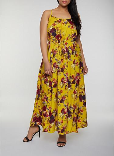 Plus Size Floral Maxi Cami Dress,YELLOW,large
