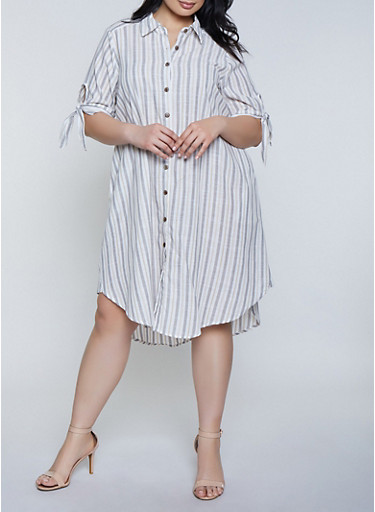 Plus Size Striped Tie Sleeve Linen Shirt Dress,KHAKI,large