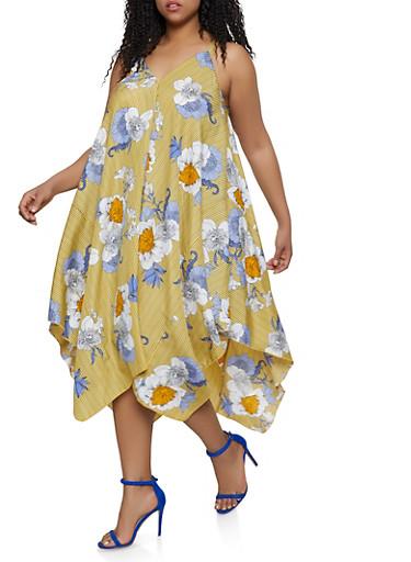 Plus Size Floral Striped Asymmetrical Trapeze Dress,MUSTARD,large