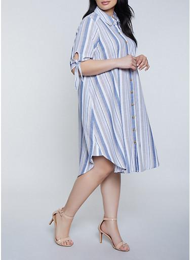 Plus Size Striped Tie Sleeve Shirt Dress | 1390056121839,BLUE,large