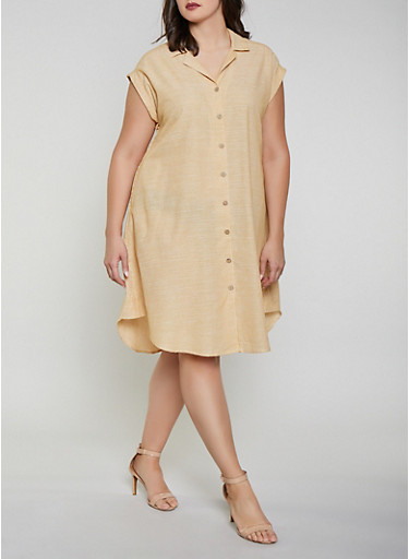 Plus Size Striped Linen Button Front Dress,MUSTARD,large
