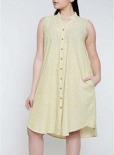 Plus Size Striped Linen Shirt Dress | 1390056121882,LIME,large