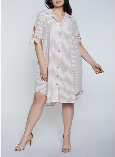 Plus Size Striped Linen Shirt Dress with Tie Sleeves,KHAKI,large