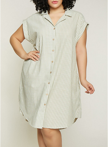 Plus Size Striped Linen Shirt Dress | 1390056121890,GREEN,large