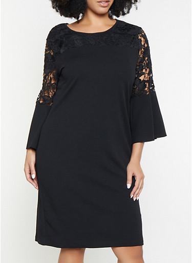 Plus Size Crochet Bell Sleeve Dress,BLACK,large