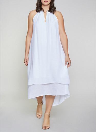 Plus Size Gauze Knit High Low Dress,WHITE,large