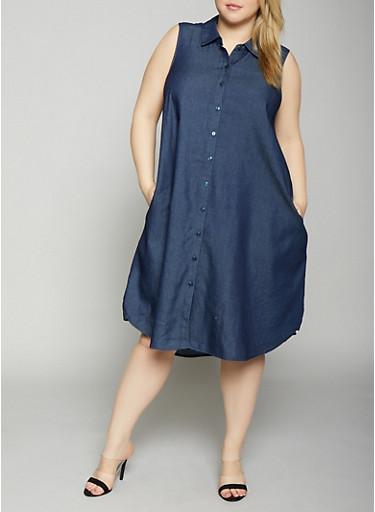 Plus Size Sleeveless Denim Shirt Dress,DARK WASH,large