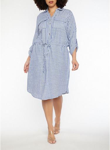Plus Size Striped Drawstring Waist Dress,CHAMBRAY-WHT,large