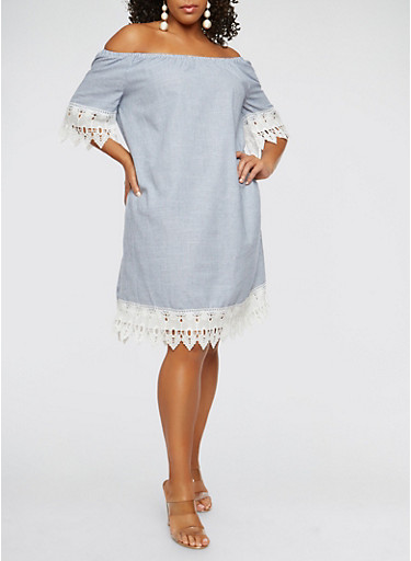 Plus Size Off the Shoulder Striped Crochet Trim Dress,BLUE/WHITE,large