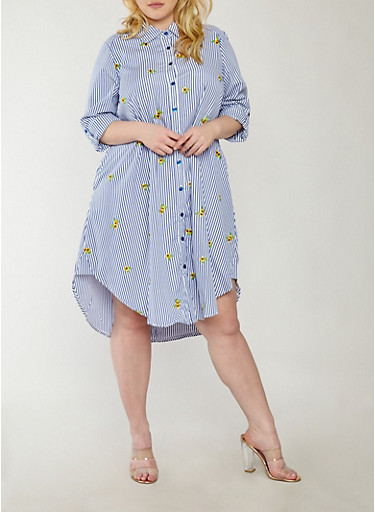 Plus Size Striped Floral Embroidered Button Front Dress,YELLOW,large