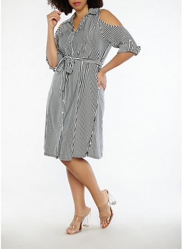 Plus Size Striped Cold Shoulder Dress,BLACK/WHITE,large