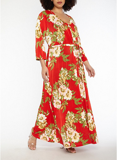 Plus Size Floral Faux Wrap Belted Maxi Dress,RED,large