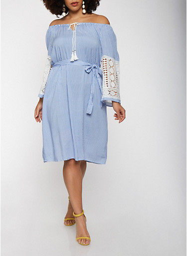 Plus Size Off the Shoulder Crochet Sleeve Dress,BLUE,large