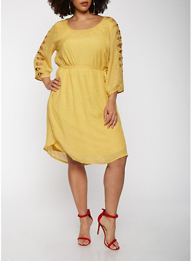 Plus Size Cut Out Sleeve Dress,MUSTARD,large
