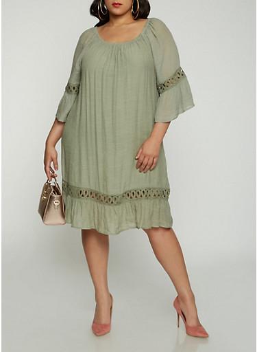Plus Size Off the Shoulder Crochet Insert Dress | Tuggl