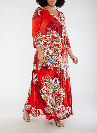 Plus Size Red Printed Faux Wrap Dress with Sleeves,RED,large