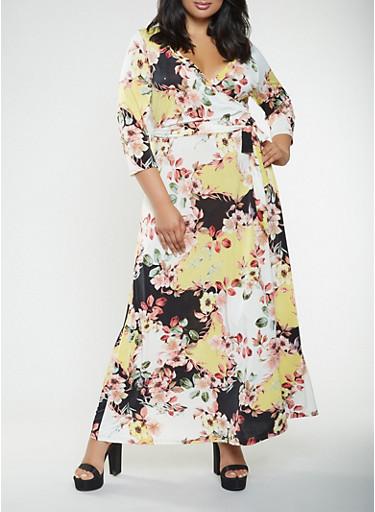 Plus Size Floral Faux Wrap Maxi Dress,GOLD,large