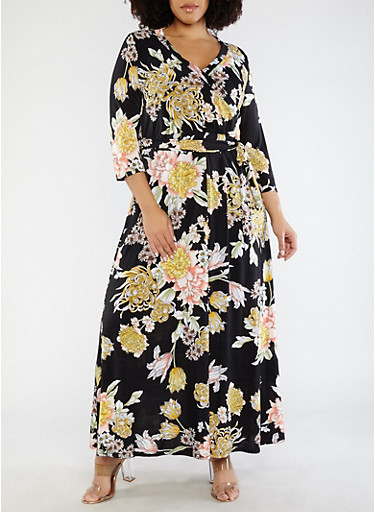 Plus Size Floral Faux Wrap Dress,BLACK,large