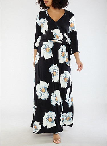 Plus Size Black Floral Faux Wrap Maxi Dress with Sleeves,BLACK,large