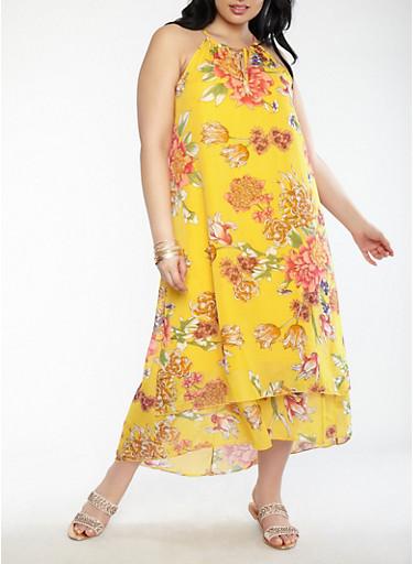 Plus Size Floral Maxi Dress,MUSTARD,large