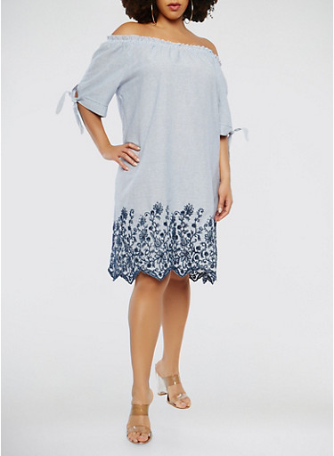 Plus Size Striped Off the Shoulder Dress,BLUE,large