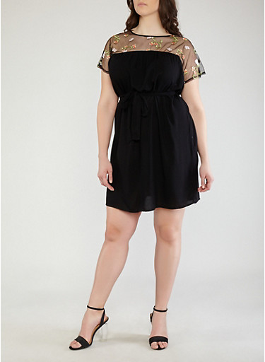 Plus Size Floral Embroidered Mesh Yoke Skater Dress,BLACK,large
