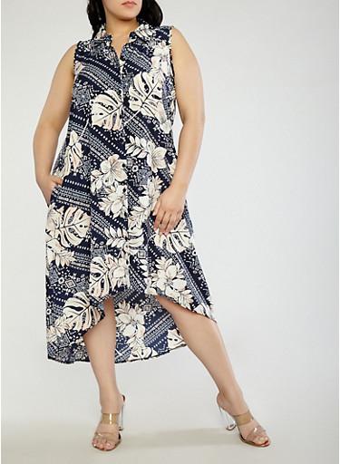 Plus Size Printed High Low Shirt Dress,NAVY,large