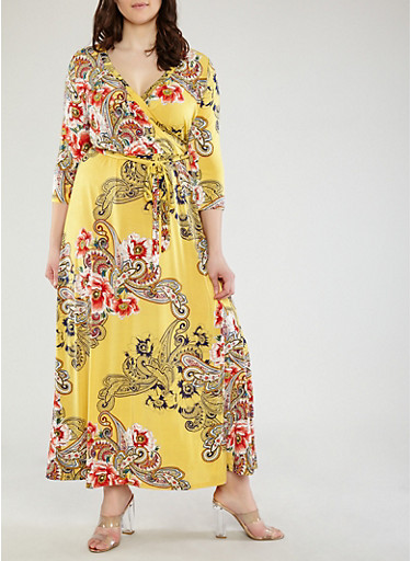 Plus Size Yellow Paisley Faux Wrap Maxi Dress with Sleeves,MUSTARD,large